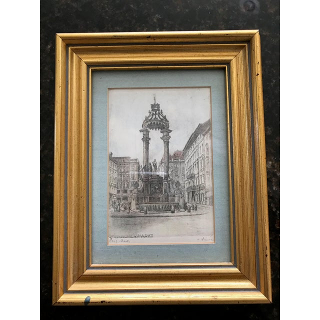 Pretty little European print purchased in Austria during the 1960's. Matted and framed in a gold frame. The etching is...