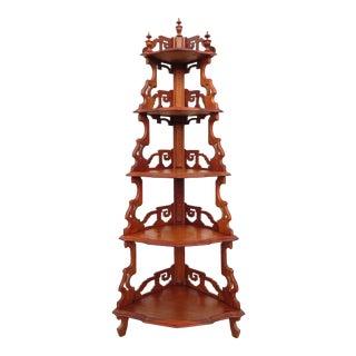 19th Century Victorian Carved Walnut Corner 5 Tier Display Shelf Etagere For Sale