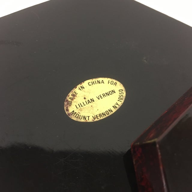 Lacquer Vintage Lacquer Hexagon Box For Sale - Image 7 of 8