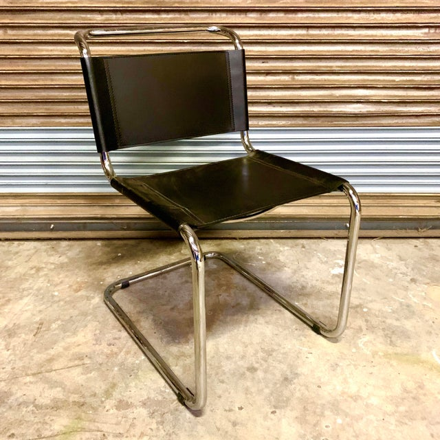 Bauhaus Vintage Mid Century Mart Stam Leather and Chrome Cantilever Chairs- A Pair For Sale - Image 3 of 13