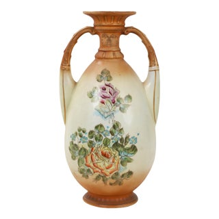 Porcelain Amphora With Handpainted Flowers and Orange Glaze For Sale