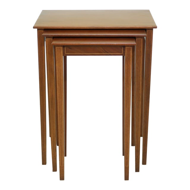 Biggs 3 Piece Inlaid Mahogany Nesting Stack Tables For Sale