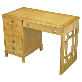 Landstrom Furniture Bleached and Limed Mahogany Six-Drawer Desk For Sale