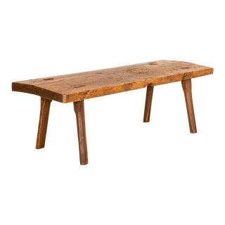 Antique Slab Top Plank Wood Coffee Table For Sale