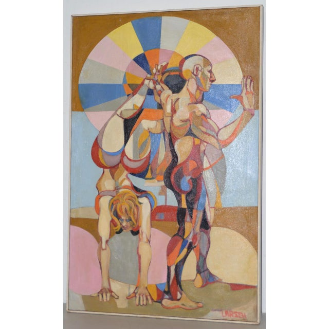 A Day at the Beach Original Painting by Larsen c.1950s Fantastic large oil painting of a couple doing exercise at the...