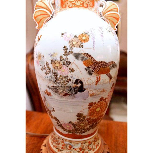 Ceramic Japanese Satsuma Ware Vase Lamp For Sale - Image 7 of 11