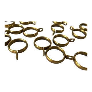 Vintage Iron-Brass Plated Ringed Dowel Curtain Rod Holders (27) For Sale