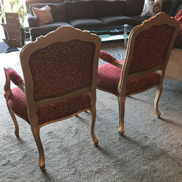 French Provincial Vintage French Style Arm Chairs - a Pair For Sale - Image 3 of 4