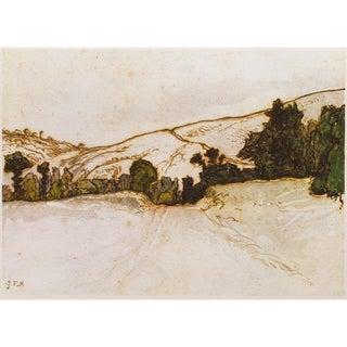 Jean-François Millet, 1959 Hill Landscape Vintage Hungarian Print For Sale