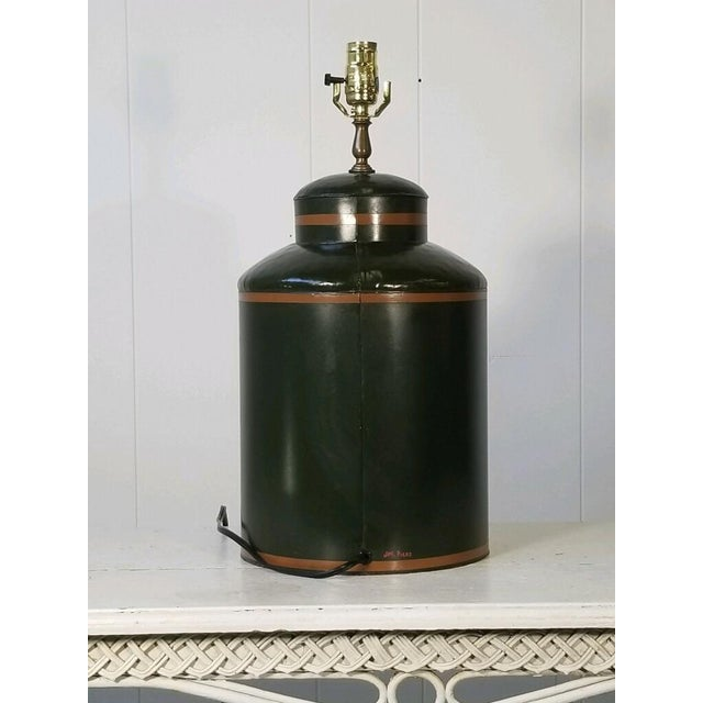 1990s Painted American Tole Lamp by Jm Piers For Sale - Image 5 of 7