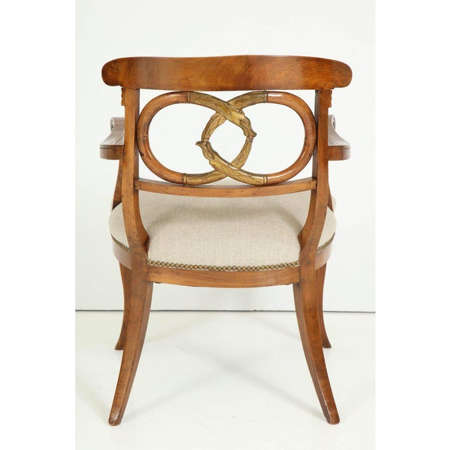 Linen Pair of Biedermeyer Armchairs For Sale - Image 7 of 10