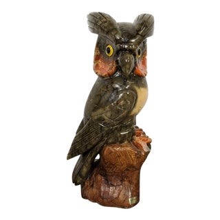 Hand Carved Italian Solid Alabaster Owl Sculpture For Sale