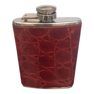 Vintage Stainless Steel & Genuine Alligator and Ostrich Flask For Sale