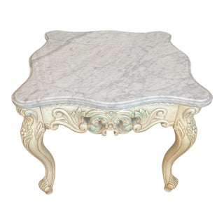 French Provincial Style Marble Top Table With Carved Painted Cabriole Legs For Sale