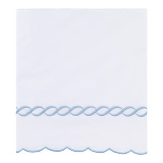 Scalloped Chain King Flat Sheet in Light Blue For Sale