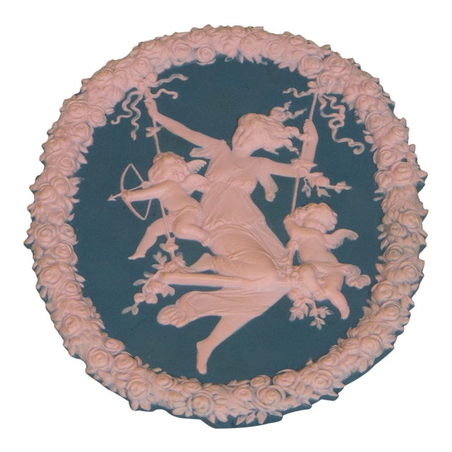 Traditional Blue and Pink Jasperware Plaque For Sale