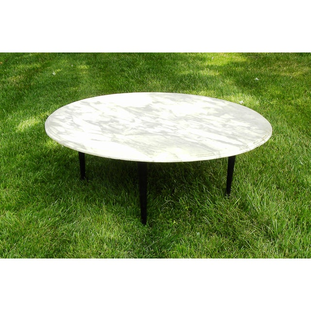 Vintage Mid-Century White Marble Coffee Table - Image 8 of 8