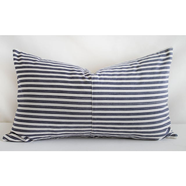 Textile Vintage Navy Blue and White French Ticking Stripe Lumbar Pillow For Sale - Image 7 of 7