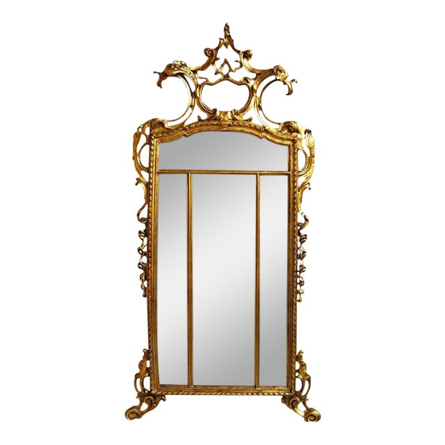 19th Century Louis XIV Style Gilt Wood and Gesso Mirror For Sale