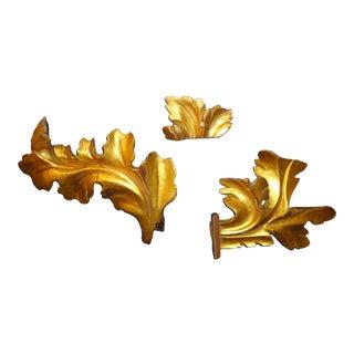 Antique 24kt. Gilt Wood Fragments - Set of 3