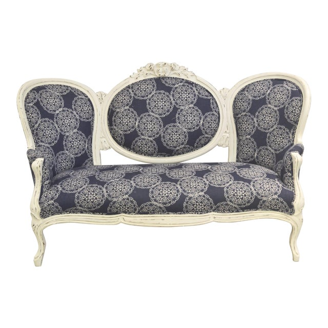 Vintage Settee with John Robshaw Upholstery For Sale