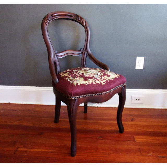 Late 19th Century Late 19th Century Victorian Carved Mahogany Balloon Back Chair For Sale - Image 5 of 9