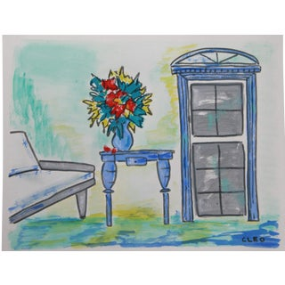 Patio Veranda and Flower Painting by Cleo For Sale