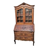 Image of Antique French Country Carved Oak Secretary Desk Bureau With Drop Front For Sale