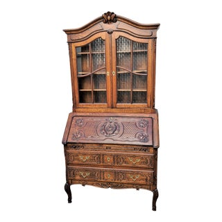 Antique French Country Carved Oak Secretary Desk Bureau With Drop Front For Sale