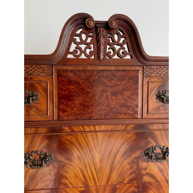 Chinoiserie Antique Ca 1900's Georgian Chippendale English Style Mahogany Claw Feet Highboy Dresser For Sale - Image 3 of 13