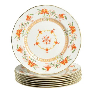 1970s Royal Worcester Chamberlain Orange Dinner Plates - Set of 8 For Sale