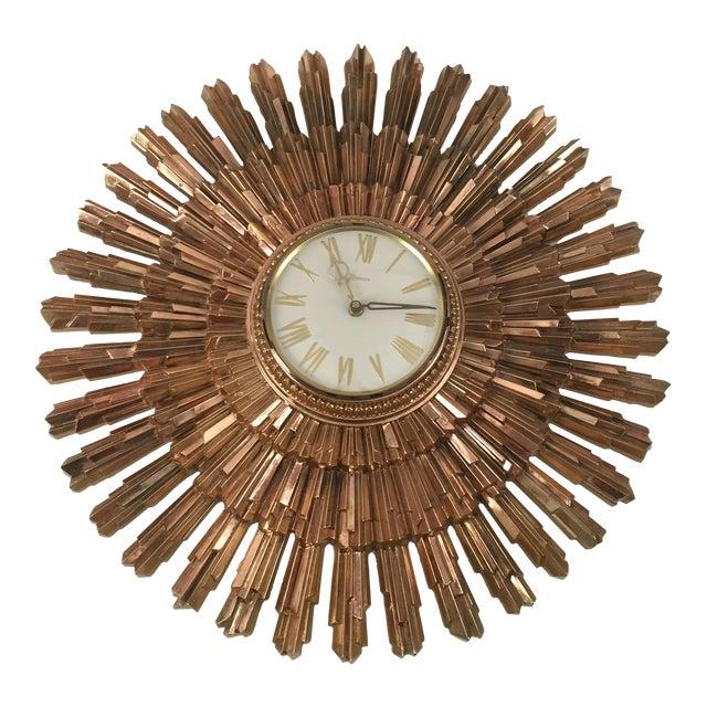 Mid-Century Syroco Sunburst Wall Clock - Image 1 of 11