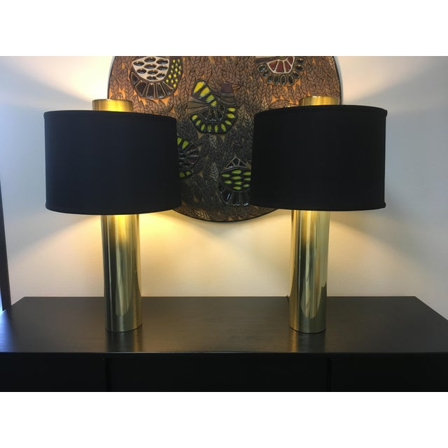 Gold Modernist Brass Column Lamps - a Pair For Sale - Image 8 of 9