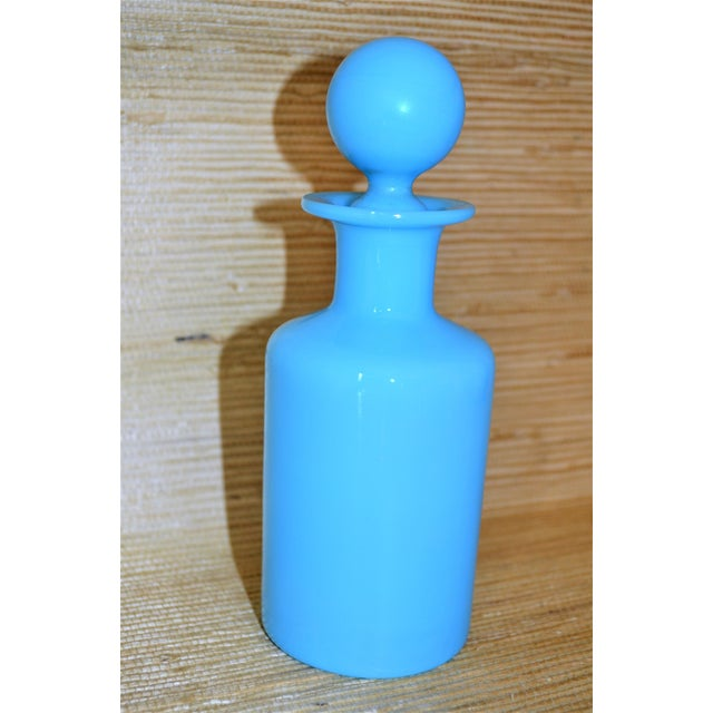 1940s 1940's Antique Portieux Vallerysthal Blue Opaline Perfume Bottle For Sale - Image 5 of 8