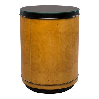 Mid Century Olive Wood Drum Table Cabinet For Sale