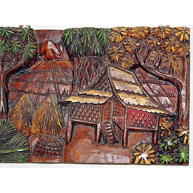 Hand-Carved Indonesian Wall Plaque For Sale - Image 4 of 5