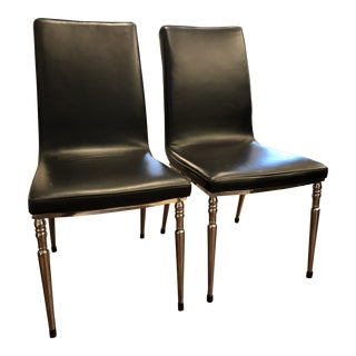 1960s Vintage Black Leather & Chrome Dinning Chairs - Pair For Sale