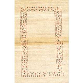 "Pasargad N Y Original Persian Gabbeh Hand-Spun Wool Rug - 3'8"" X 5'4"" For Sale"