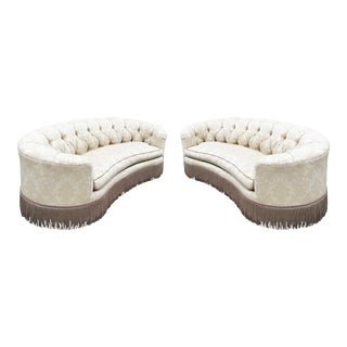 Classic Kidney Bean Shaped Sofas - A Pair For Sale
