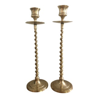 Solid Brass Barley Twist Candlesticks - a Pair For Sale