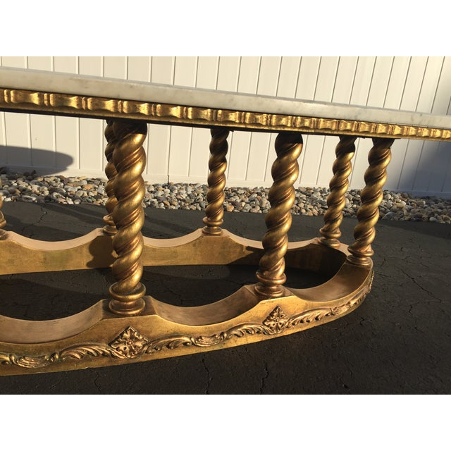 Hollywood Regency Gold Gilt Marble Coffee Table - Image 5 of 8