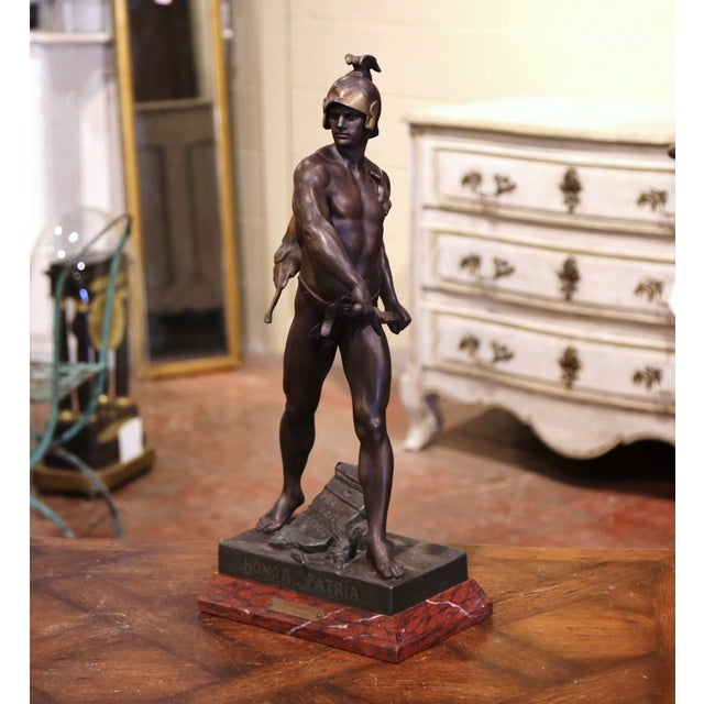 """19th Century French Spelter Sculpture Titled """"Honor-Patria"""" Signed E. Picault For Sale - Image 12 of 12"""