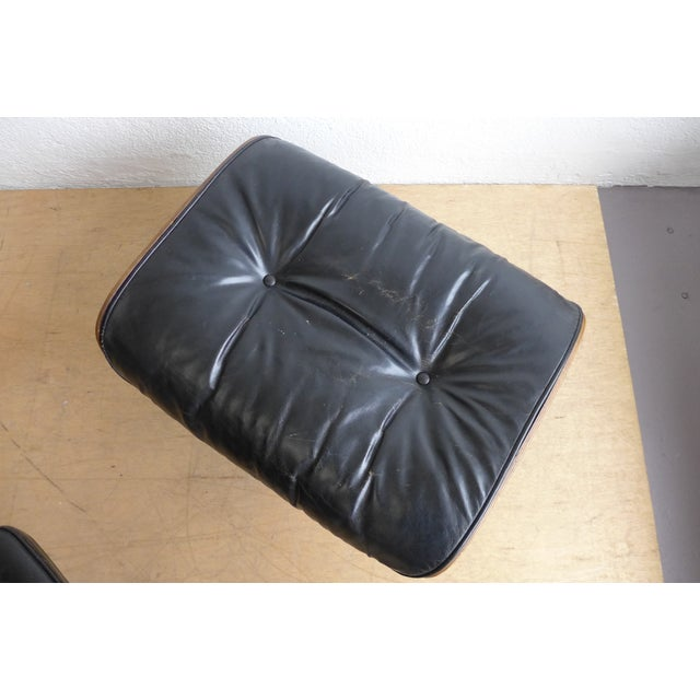 Black Eames 670/671 Leather Lounge Chair For Sale - Image 8 of 9