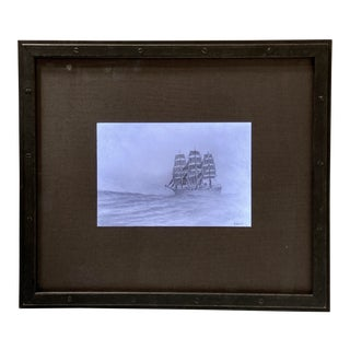 John Kelly Original Vintage Pencil Drawing on Vellum Ship at Sea in Light Box For Sale
