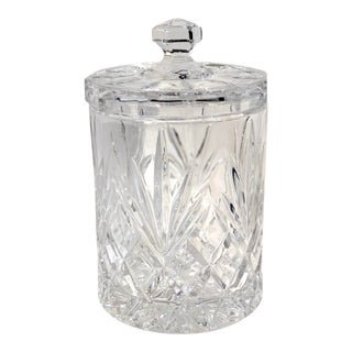 Czech Rep Bohemian 24% Lead Crystal Cut Biscuit Jar For Sale