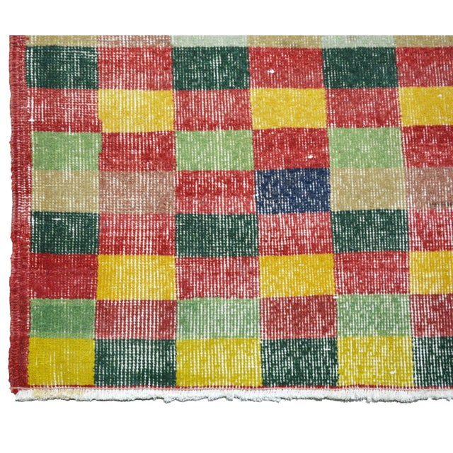 """1930s Vintage Turkish Anatolian Art Deco Hand Knotted Organic Wool Fine Weave Rug,7'1""""x10'7"""" For Sale - Image 5 of 7"""