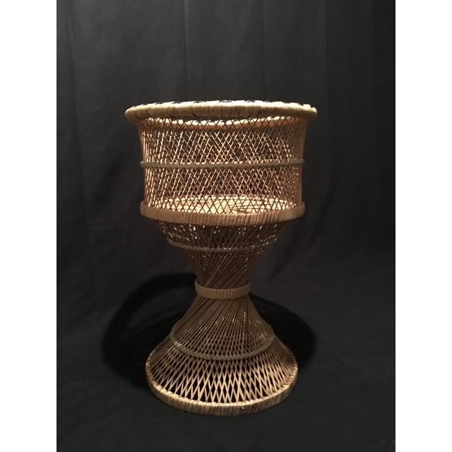 Boho Chic Rattan Wicker Plant Stand For Sale - Image 3 of 9
