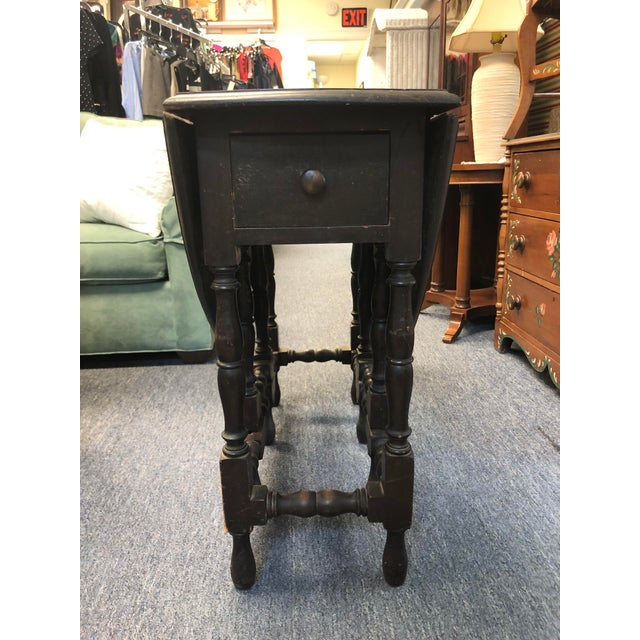 Wood 17th Century Antique Jacobean Drop Leaf Table For Sale - Image 7 of 12