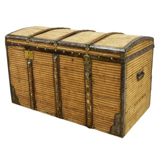 19Th Century French Victorian Dome Top Wood & Iron Traveling Trunk or Chest For Sale