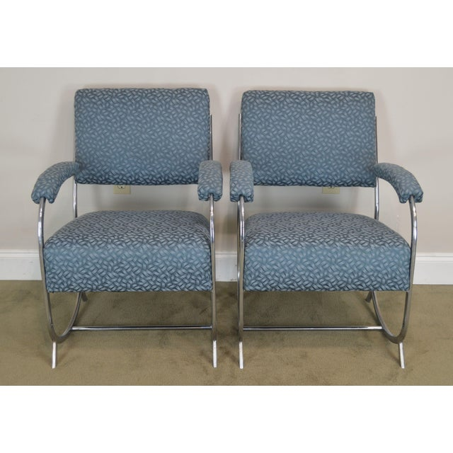 Art Deco Art Deco Vintage Chrome Frame Pair of Armchairs For Sale - Image 3 of 13